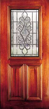 Solid Mahogany Doors With Beveled And Insulated Glass We